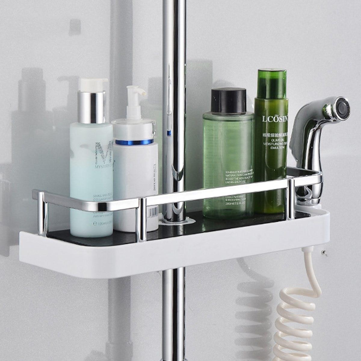 Rectangle/Round Bathroom Shelves Shower Storage Rack Holder Shampoo ...