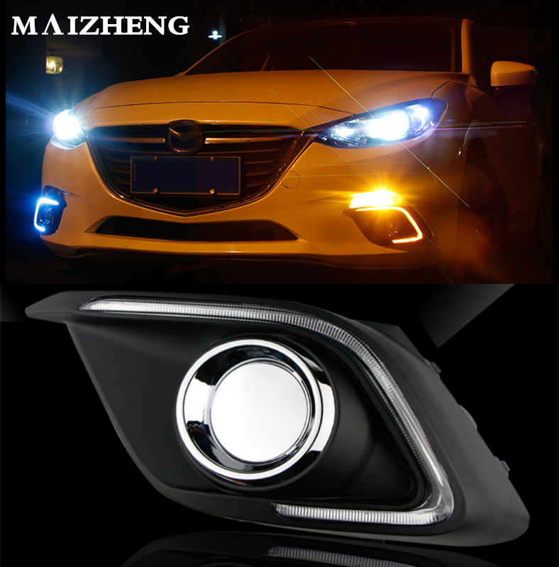 Turn Signal Light and dimming style Relay 12V LED car DRL daytime lights with fog lamp hole for Mazda 3 axela 2014 2015 2016 turn off and dimming style relay led car drl daytime running lights for ford kuga 2012 2013 2014 2015 with fog lamp