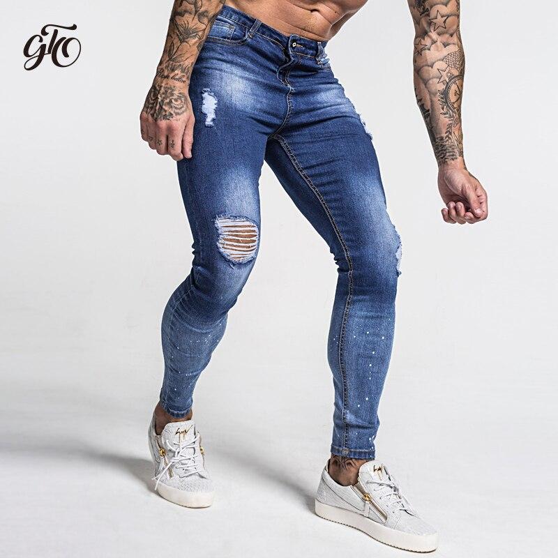 Dark Blue Ripped Jeans For Men  4