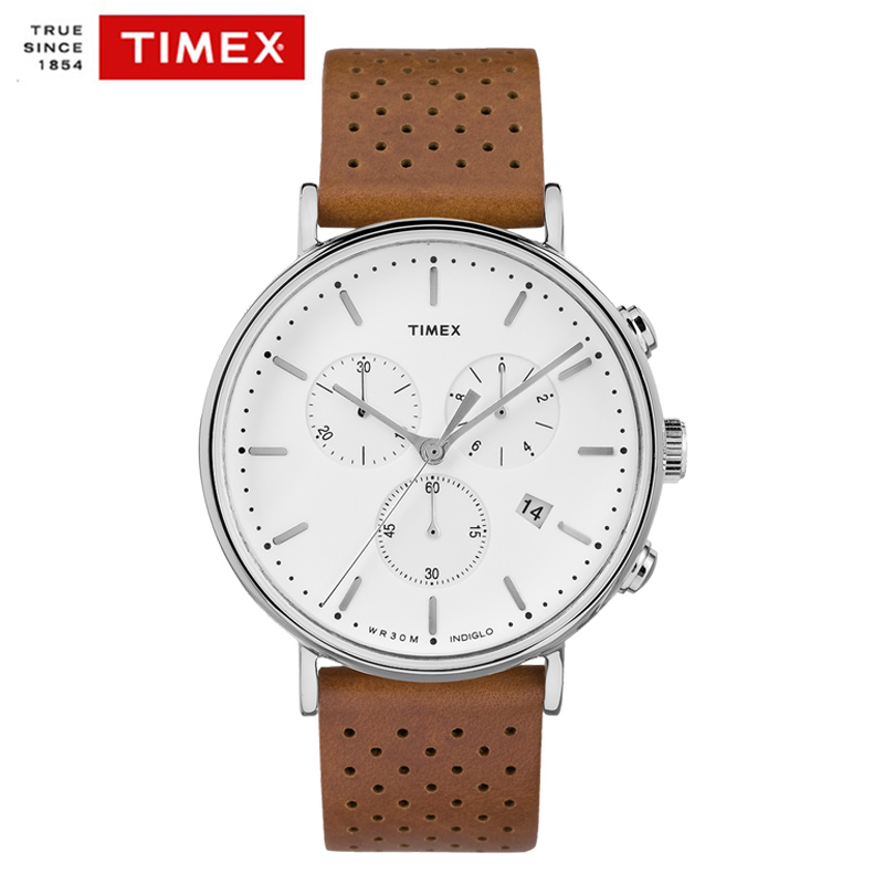 Timex Original Mens Watch TW2R267 The Fairfield Chronograph Quartz Leather Watch Multi-function Waterproof Men Unsex Wathces