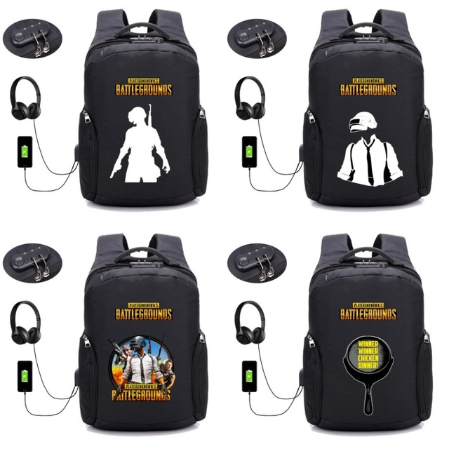 Game PUBG USB Charging Anti-theft Backpack