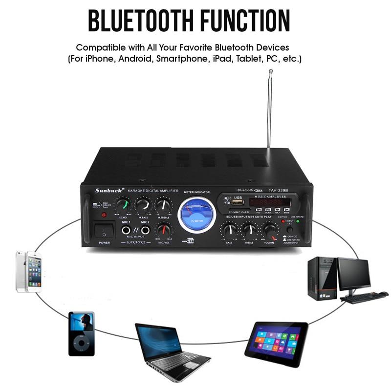 Bluetooth Stereo Receiver Power Amplifier US Plug 110V 600W Audio Karaoke Home Car Hi-Fi FM Amplifier With Remote Control hifi class bluetooth 4 2 audio receiver amplifier car stereo modify support aptx low delay