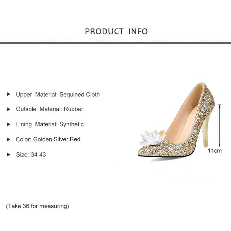 d7f65514f08 Rhinestone High Heels Wedding Shoes Pointed toe Pumps Woman Crystal Mary  Bride shoes shallow Women evening Party shoes