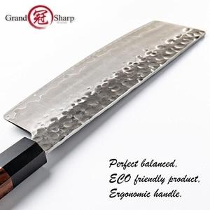 Image 5 - Nakiri סכין יד מזויף מטבח סכיני יפני AUS10 3 שכבה פלדה טבעי עץ סביבתי מוצר Grandsharp סכיני שף