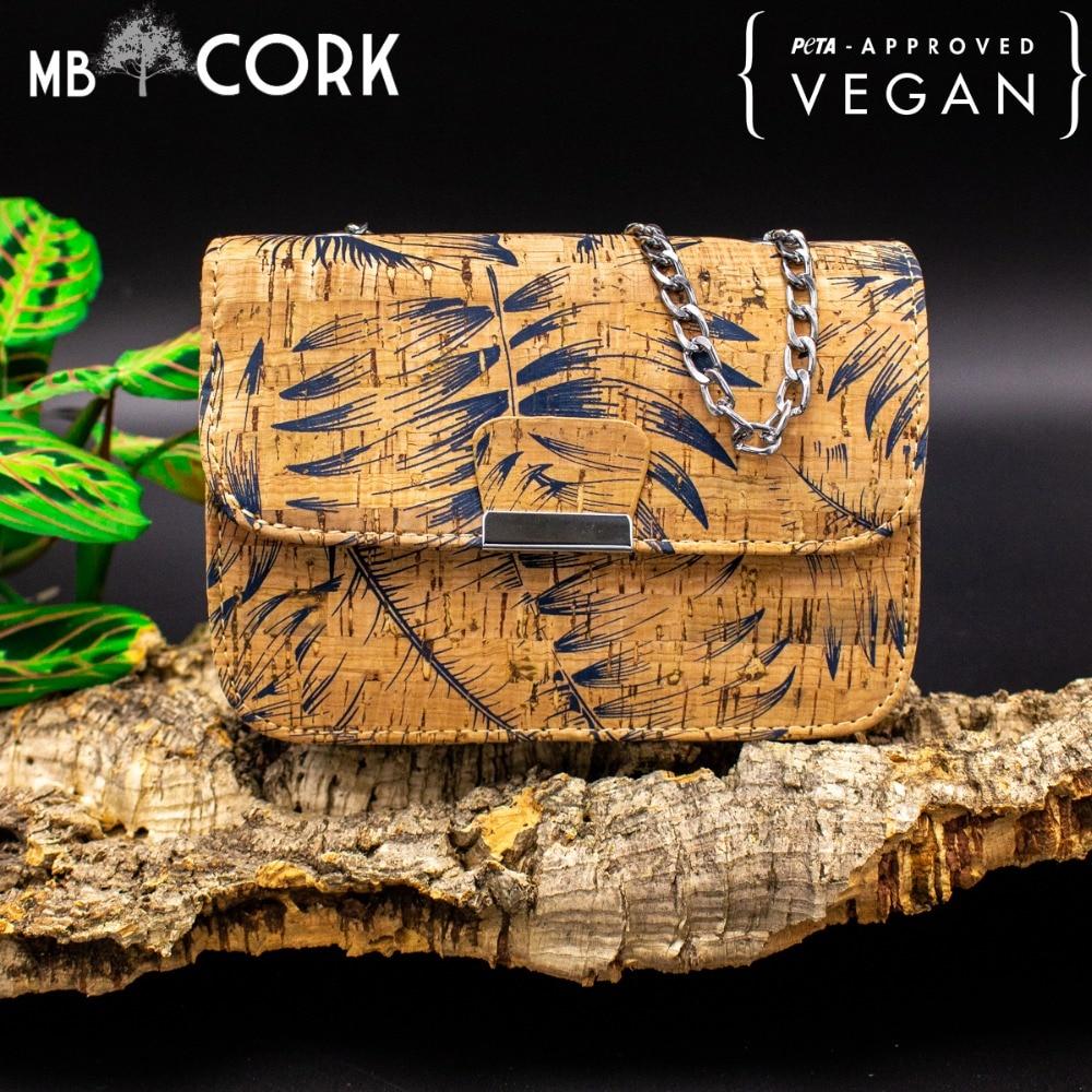 Natural Cork Fabric With Feather Girl Bodycross Small Bags Women Cork Body Cross Vegan Bag-296-A