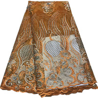 African Lace Fabric, Beautiful Yellow Embroidered Tulle Lace Fabric, Handmade Stones Heavy Lace HJ995 1