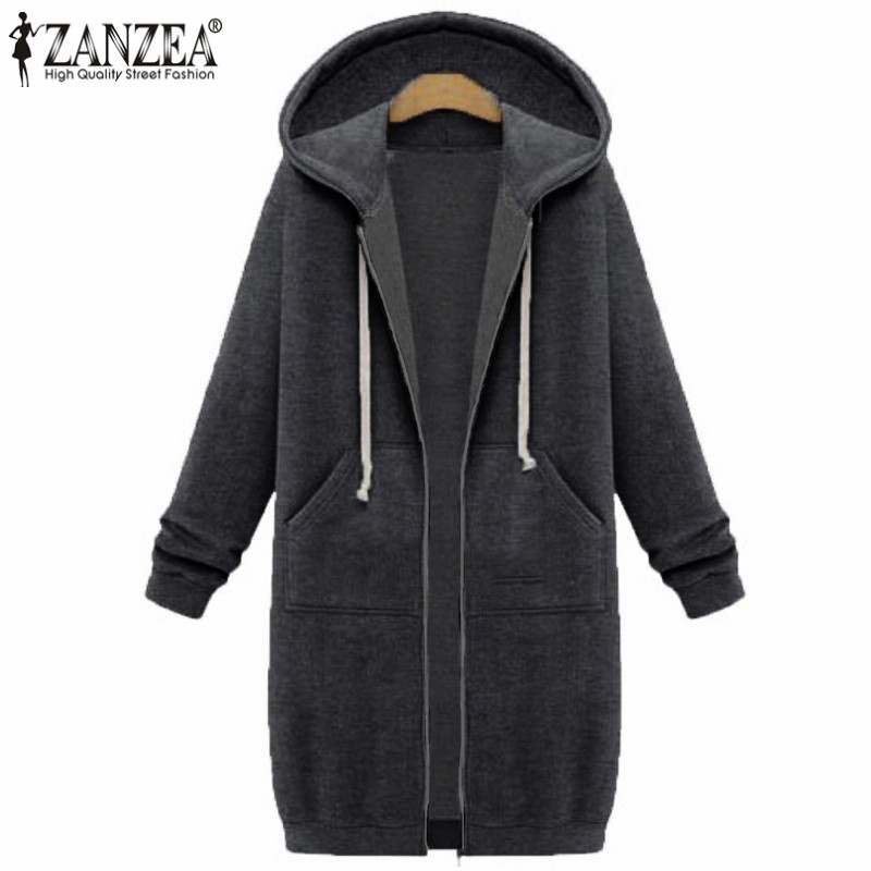 Winter Autumn ZANZEA 2018 New Casual Women Long Hoodies Sweatshirt Coat  Pockets Zip Up Outerwear Hooded Jacket Plus Size Tops 989c6025d
