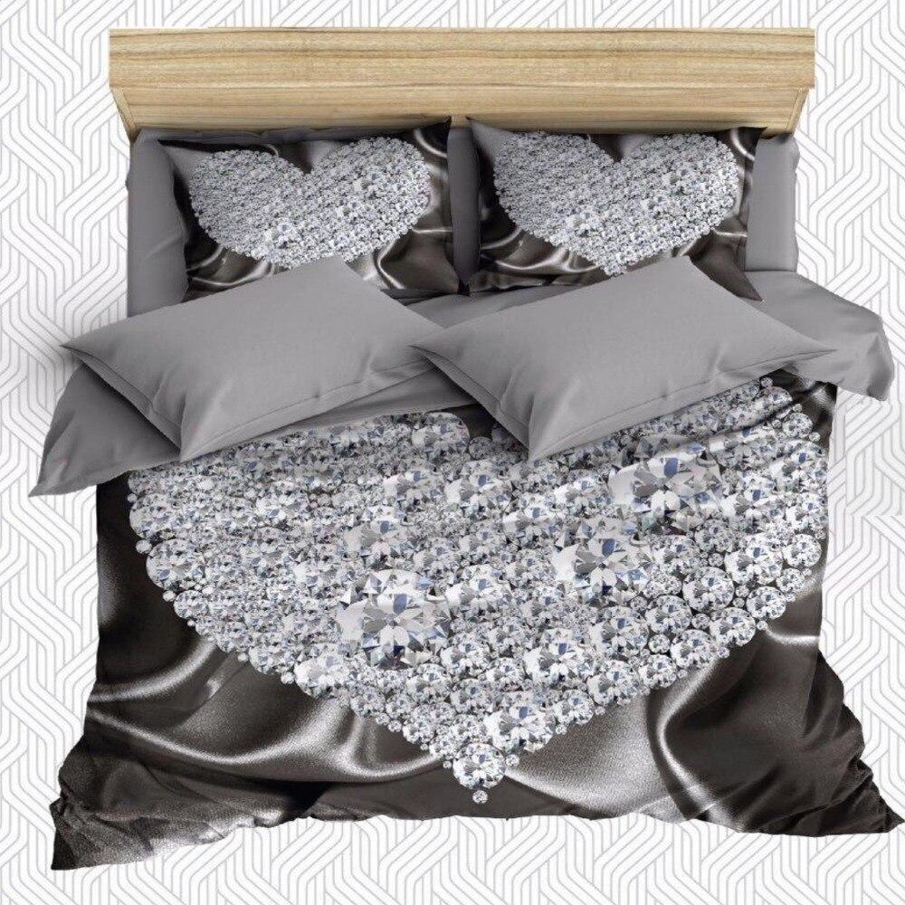 Autre 6 pièces sol gris sur diamants de luxe coeurs impression 3D coton Satin Double housse de couette ensemble de literie taie d'oreiller drap de lit