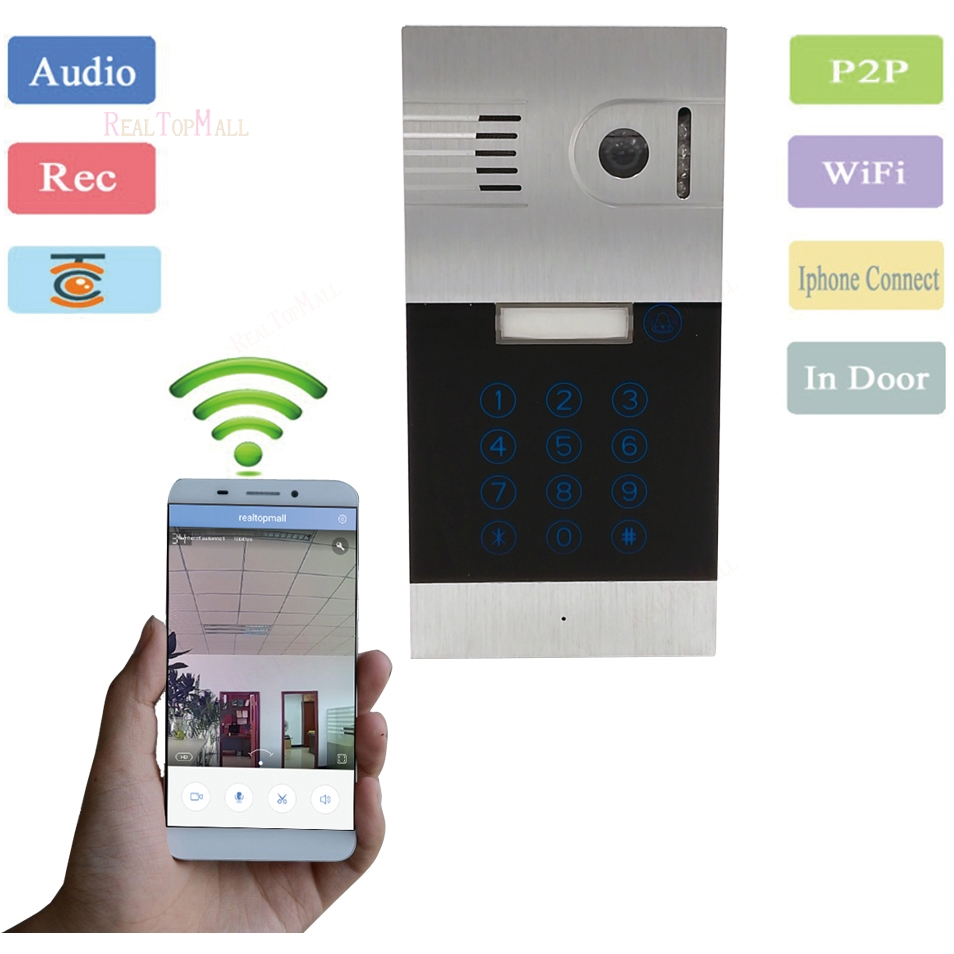 Wireless WIFI Intercom Doorbell Camera Password Video Phone Door bell Night Vision  for IOS Android smartphones & Tablets 2015 free shipping wifi video door phone door bell intercom systems app can be run in android and ios devices