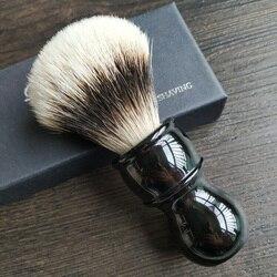 Dscosmetic hook badger pelo gel punta 3 nudos brocha de afeitar mango de resina negro