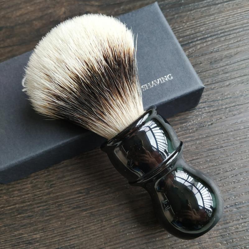 Dscosmetic Hook Badger Hair Gel Tip 3 Knots Shaving Brush Black Resin Handle