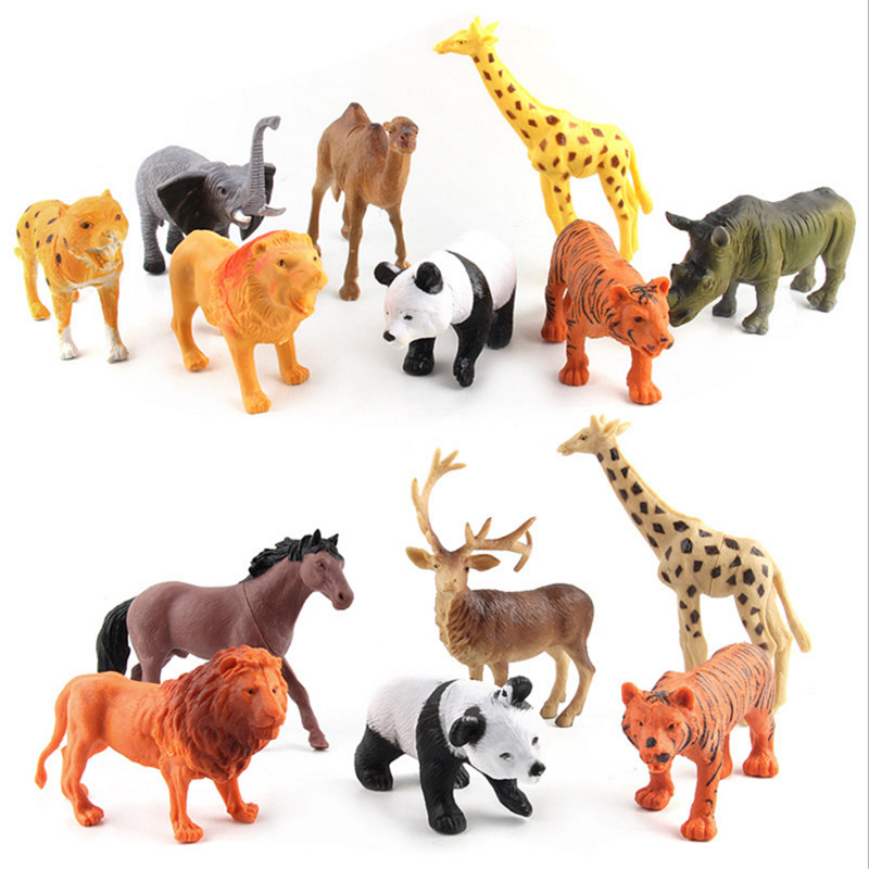 Simulated Zoo Animals Toy Panda Giraffe Horse Lion Tiger Elephant Grassland Plastic Animals Model Toys for Kids mr froger carcharodon megalodon model giant tooth shark sphyrna aquatic creatures wild animals zoo modeling plastic sea lift toy
