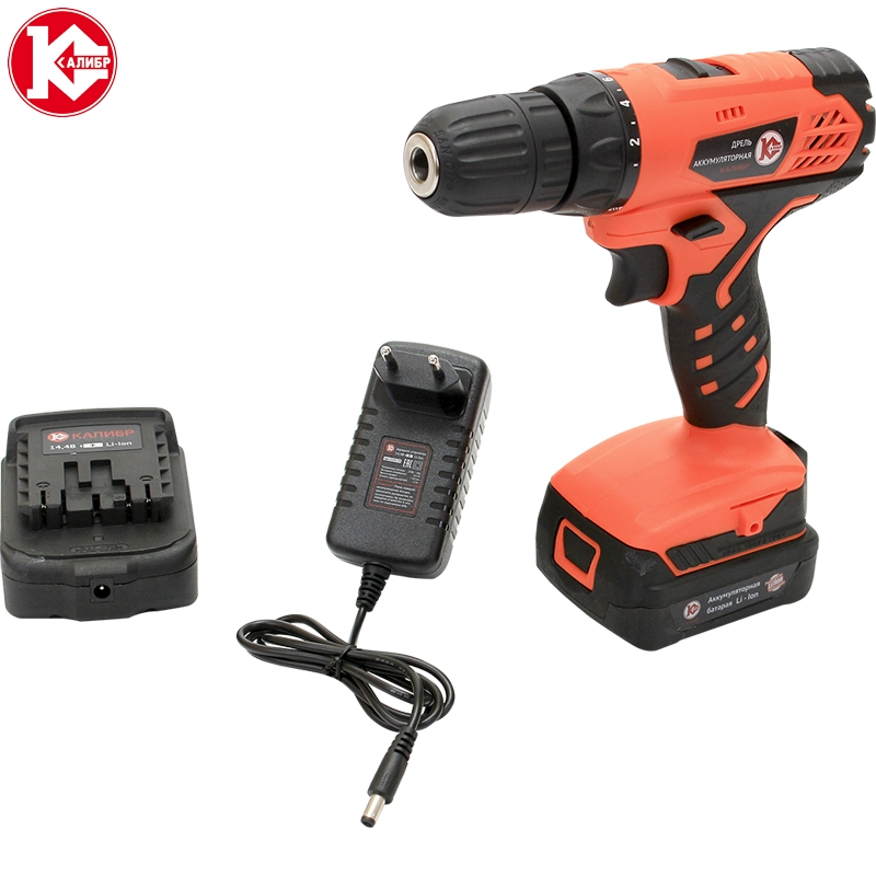 Cordless drill with Lithium battery Kalibr DA-14.4/2+ (14,4V, 2 Li-Ion Battery, 2 speed) screw driver, power tools mini drill voto universal 21v max li ion lithium rechargeable battery with flat push type for electric drill electric screwdriver