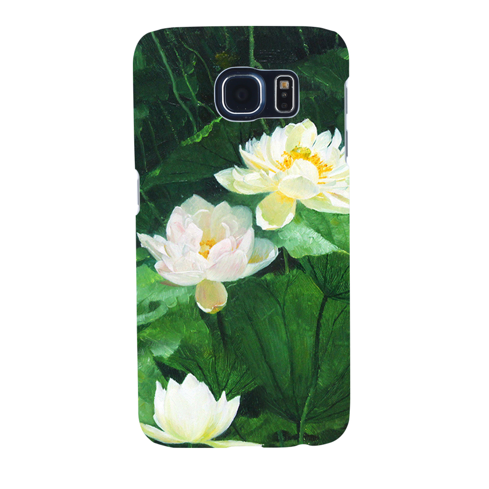 Oil Painting Lotus Flower Case Cover For Iphone 8 For Samsung S8 For