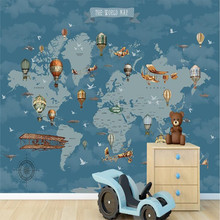 Cartoon World Map Wall Professionally Manufactured Wallpaper Custom Photo