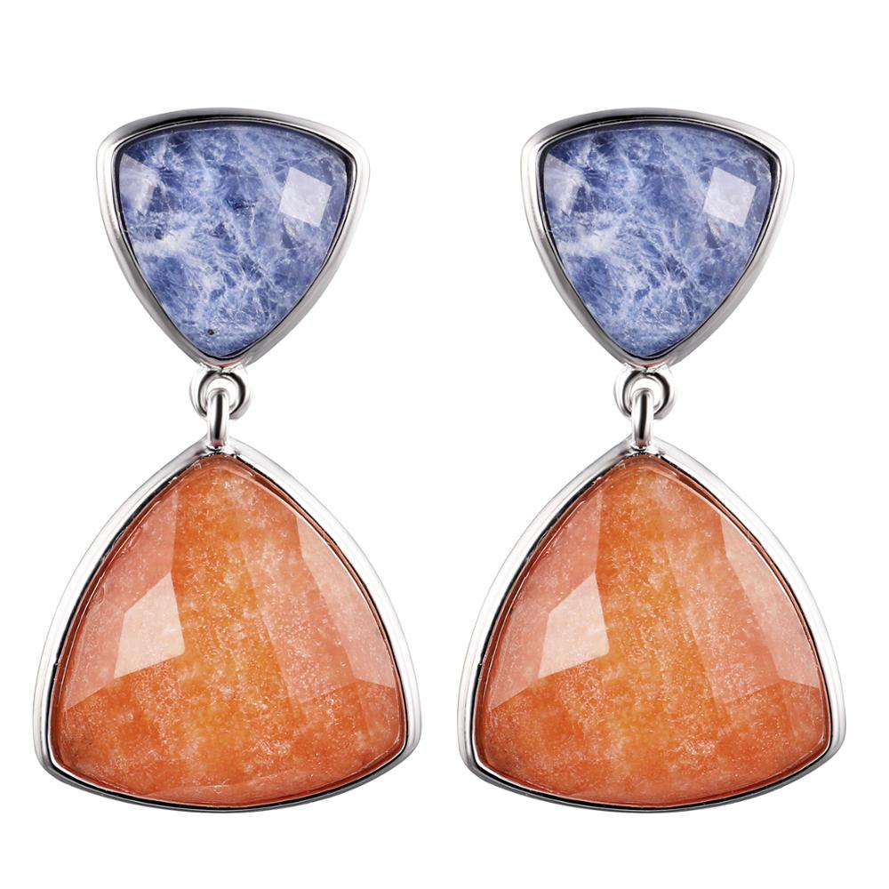 DORMITH real 925 sterling silver earring gemstone natural red Aventurine and blue Sodalite drop earrings for