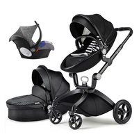 Hot Mom 3 in 1 high view leather baby stroller with handle basket