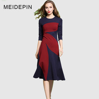 2018 Summer Women Fashion Casual A Line OL Dress Contrast Color Celebrity Style Elastric Fabric Slim