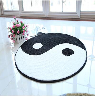 80x80 cm/90x90 cm noir blanc Bagua tapis Taiji schéma tapis tapis anti-dérapant sol décoratif tapis décor domestique