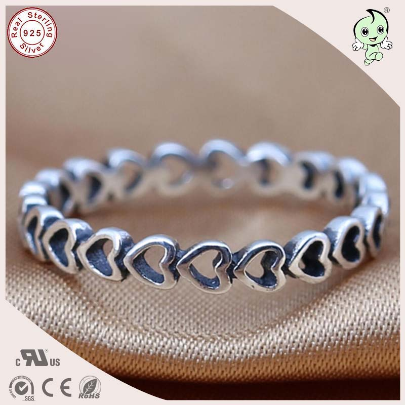 P&R products High Quality Trendy Famous Brand 100% 925 Sterling Silver Linked Hollow Heart Finger Ring for women