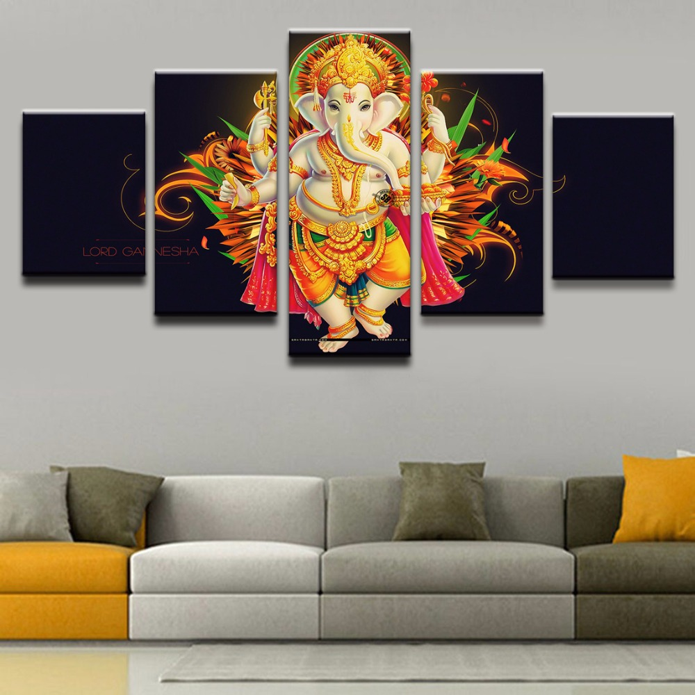 Canvas painting 5 pieces india tibetan ganesha wall art - Wall pictures for living room india ...