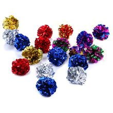 Color Random Multicolor Mylar Crinkle Ball Cat Toys Ring Paper Cat Toy Interactive Sound Ring Paper Kitten Playing Balls(China)