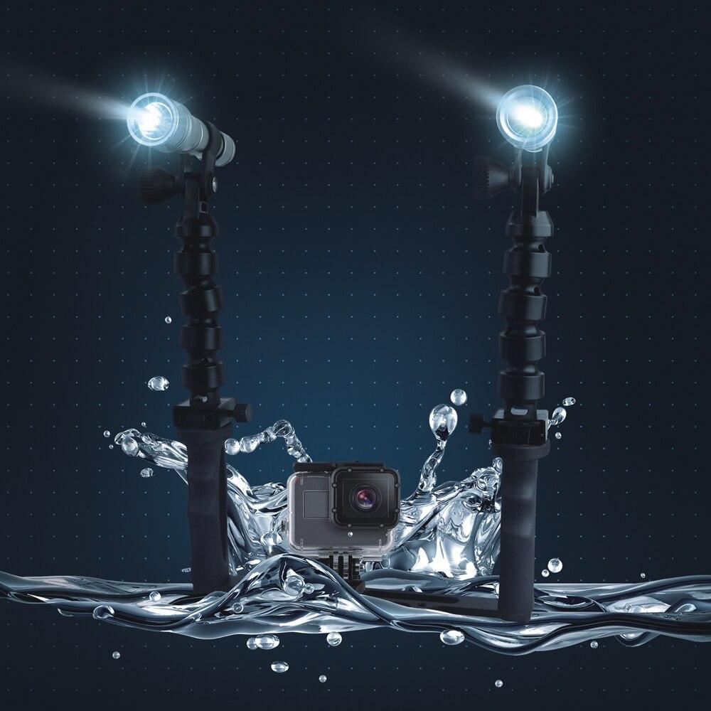 Новые Алюминиевые скелеты с двумя ручками водонепроницаемые фонари для дайвинга для GoPro 5/4/3 + SJCAM Xiaomi Yi аксессуары для экшн камеры