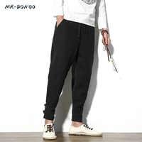 MRDONOO Men's autumn loose casual ankle banded sweatpants linen harem feet pants large size Chinese style cotton trousers 9189