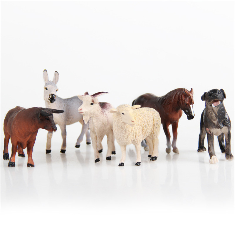 6pcs Simulated Farm Animal Sheep Dog Horse Donkey Ox Cow Set Animals Child Static Plastic Model Set Toys 6pcs simulated farm animal horse sheep