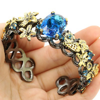 Vintage Big Heavy 53g Paris Blue Topaz Black Gold Silver Bangle Bracelet 7.5inch 73x23mm