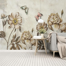 European retro fashion watercolor rose oil painting flower wall custom wallpaper mural