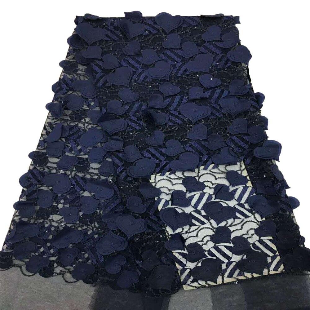 Nouveauté coeur Design brodé bleu marine 3d Applique robe africaine Tulle dentelle tissu pour Nigeria X631-9 de mariée