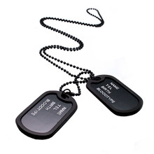 Military Army Style Black 2 Dog Tags Pendant Sweater Chain Necklace Men's Jewelry(China)