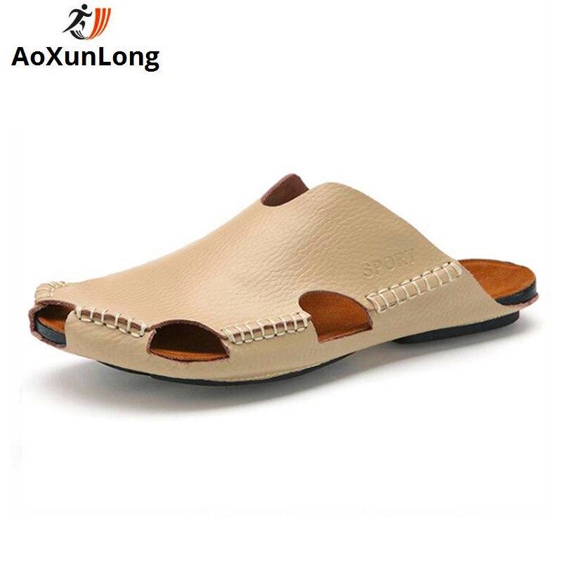Summer Men's Slippers Genuine Leather Fashion Handmade Home Slippers Beach Non slip Flip Flop Men Eu 38/44 Men Shoes Flip Flops