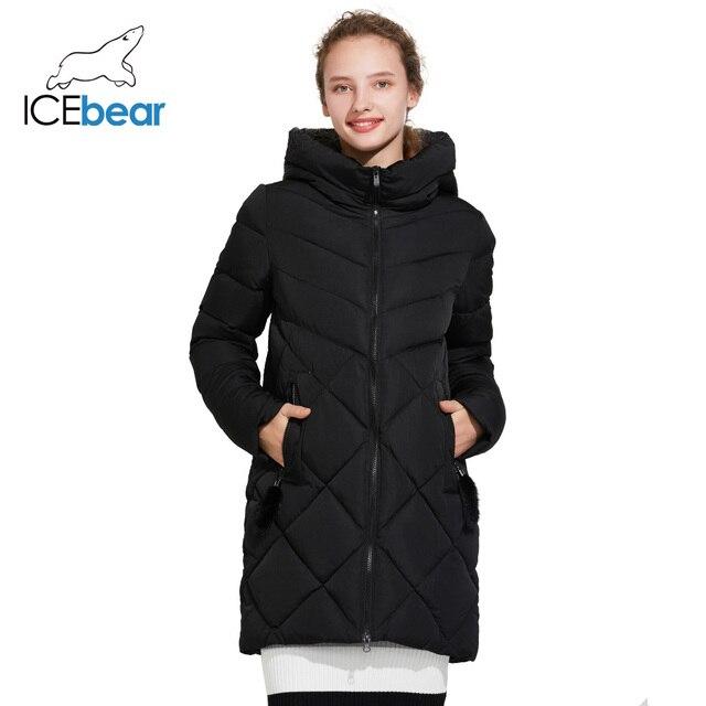 ICEbear 2017 Зимняя женская куртка высокого качества тёплая плотная парка с боковыми карманами и тёплым воротником 17G636