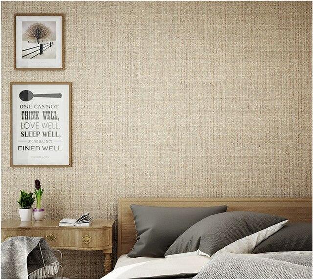 Plain pure linnen stof vinyl behang woondecoratie stro behang ...