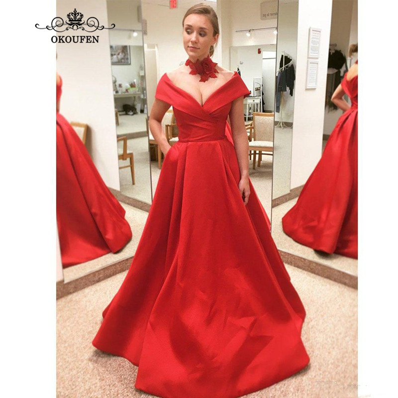 2019 Sexy Cheap Red   Bridesmaid     Dresses   With Capped Sleeves Plunging Neck Long A Line Prom   Dress   Party For Wedding For Women