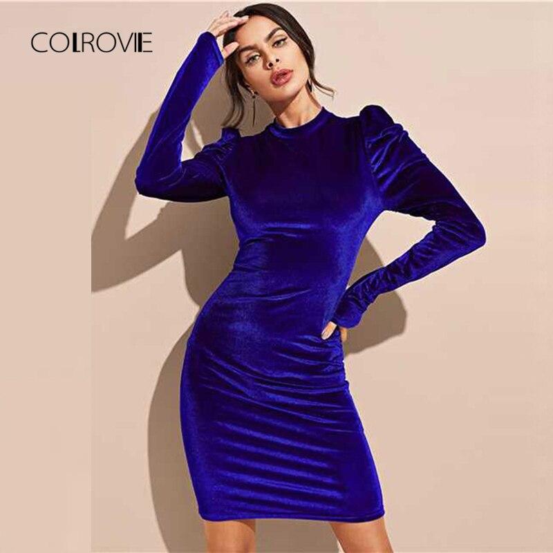 6a0b2eb38a8 COLROVIE Puff Sleeve Sexy Velvet Pencil Dress Women 2018 Autumn Blue Long  Sleeve Party Dress Bodycon