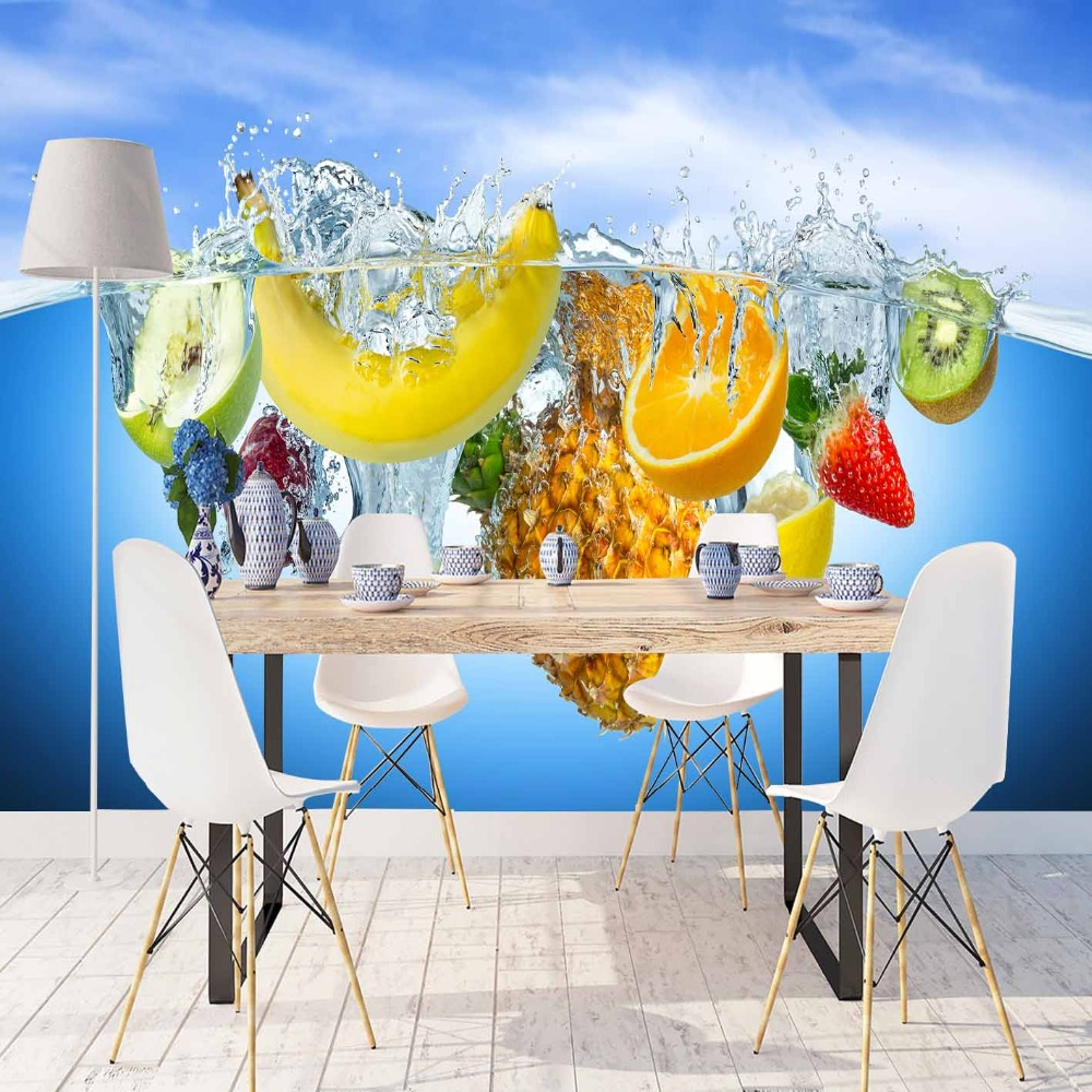Else Blue Water Tropical Fruits Banana Kiwi Apple 3d Print Photo Cleanable Fabric Mural Home Decor Kitchen Background Wallpaper