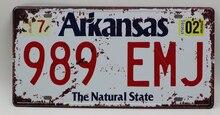 1 pc Arkansas tin sign plate US American car license plaques man cave garage