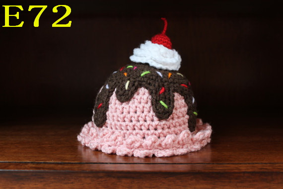 Cute Handmade Newborn Infant Baby Beanies Hat Cotton Cake Lovely Crochet Knit Caps 32 styles Free shipp