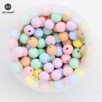 Let's Make 1000pc Candy Colors Silicone Beads Child Gifts DIY Jewelry Food Grade Silicone Teething Beads Toy Baby Teether 9mm