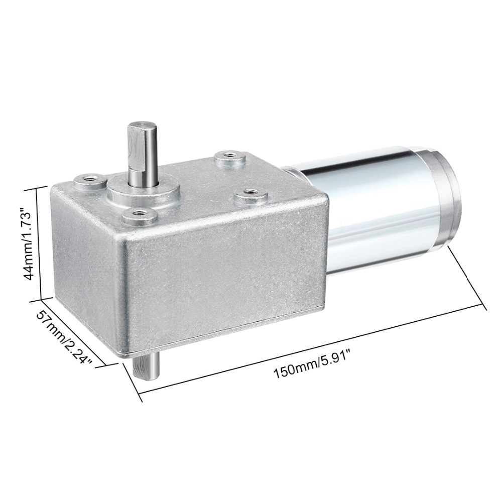 UXCELL New DC 12V 22RPM DC 24V 9RPM 56RPM 2.5A High Torque Reversible Turbine Worm Gear Motor 20x10mm Shaft Reduction Motor dc 12v 6mm shaft 5rpm high torque turbines worm gear box reduction motor