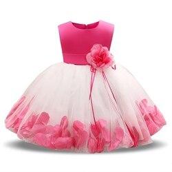 Vestidos de bebê infantil 1 2 anos criança traje princesa menina aniversário batismo roupas tutu flor vestido do bebê para festa de casamento
