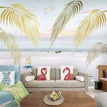 American European Nordic Mediterranean Fresh Plant Palm Leaf Wall Factory Wholesale Wallpaper Mural Customize Photo