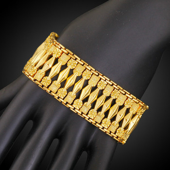 25MM Wide Geometric Patterned Gold Filled Bracelet