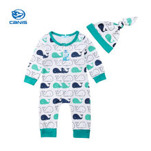 CANIS Baby Rompers Long Sleeve Newborn Kids Baby Girl Boy Whale Romper Hat Jumpsuit Clothes set Boys Girls Rompers Autumn Bebe(China)