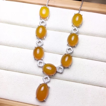 KJJEAXCMY boutique jewelry 925 pure silver inlaid natural Topaz chalcedony Necklace support detection