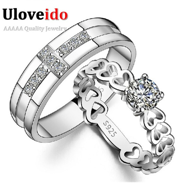 Uloveido Cross Heart Engagement Love Ring Set Couple Rings Silver