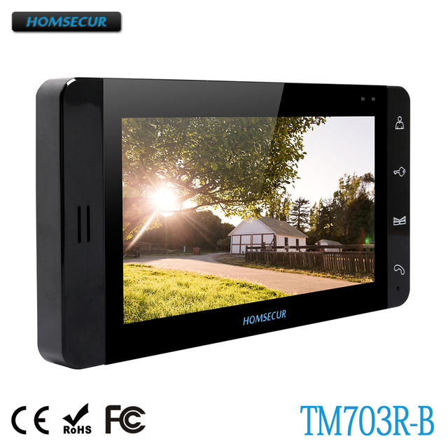 HOMSECUR Monitor TM703R-B with Recording Function for Video Door Phone Intercom System